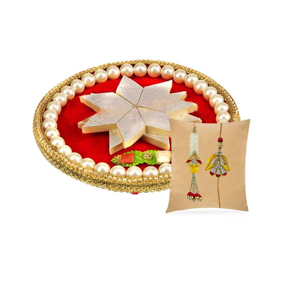 Royal Pearl Thaali with Bhaiya Bhabhi Rakhi Set