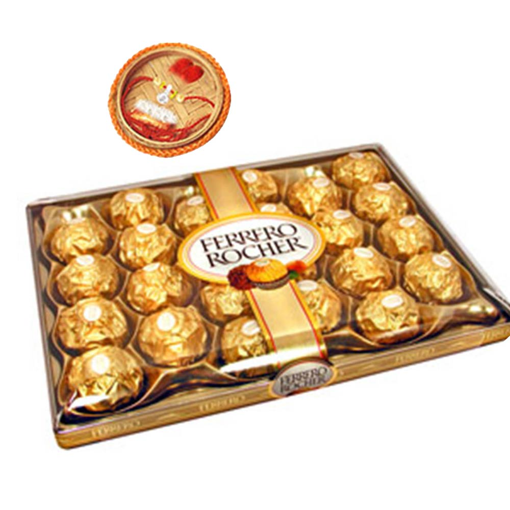 Chocolates & Cookies-24pcs Ferrero Rocher +Rakhi Kit