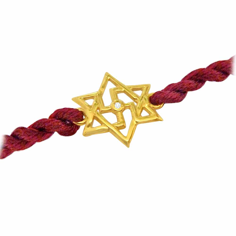 Royal Rakhi Collection-Shatkonam-Swastik - Diamond and Gold Rakhi