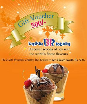 Gifts Certificate-Baskin Robbins Gift Voucher & Free Rakhi