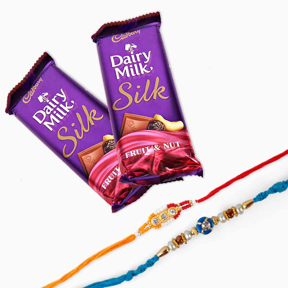 Set of Two Rakhi with Cadbury Dairy Milk Silk Chocolate