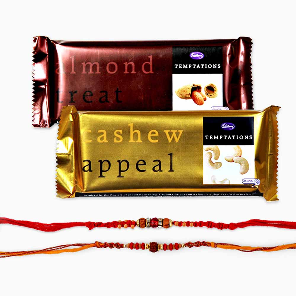 Temptations Chocolate and Set of Two Rakhi