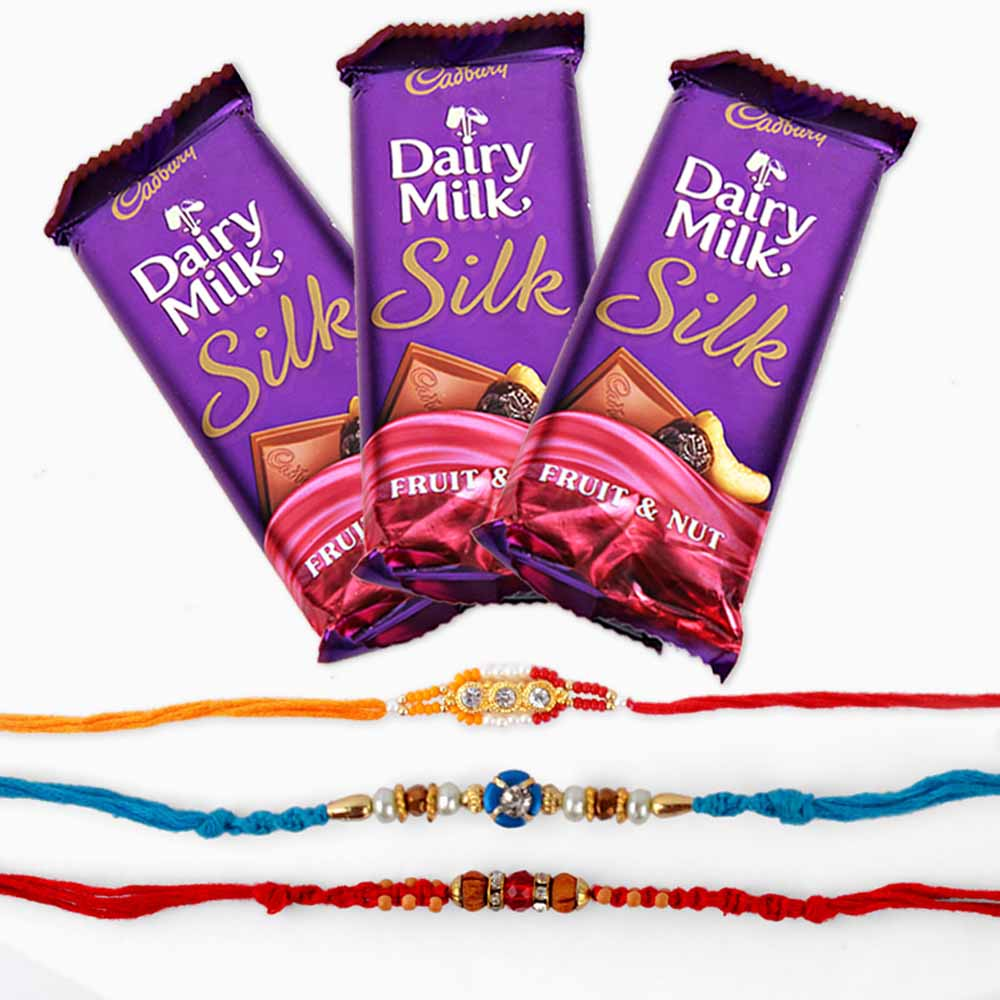 Cadbury Dairy Milk Silk Chocolate and Set of Three Rakhi