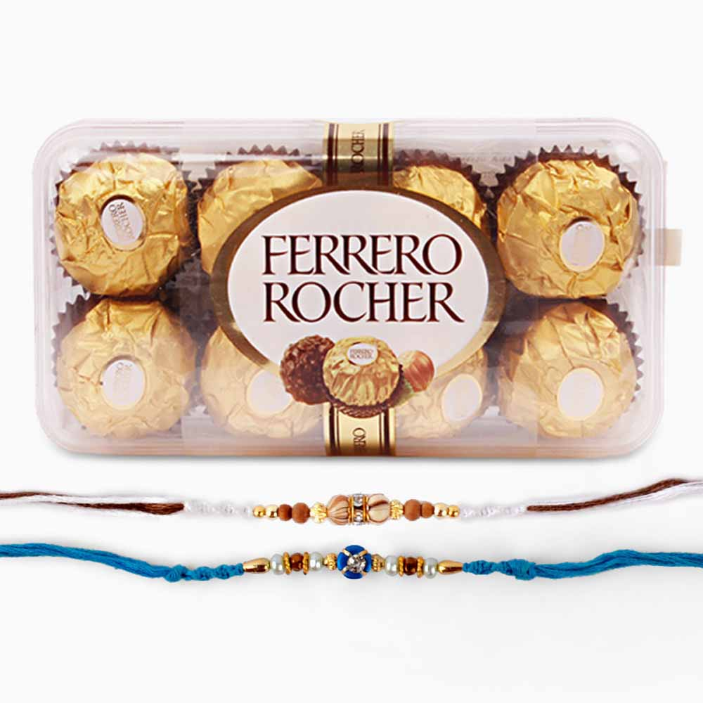 Two Rakhi with Ferrero Rocher Chocolate