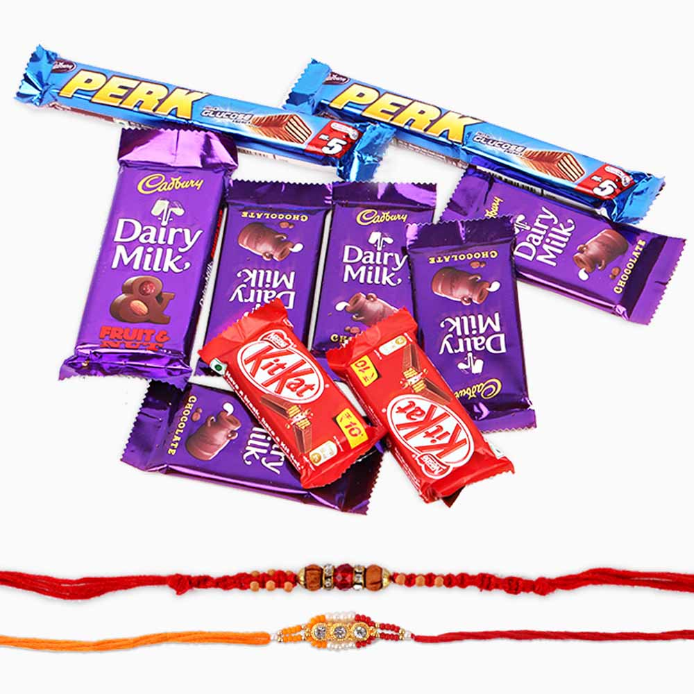 Assorted Cadbury Chocolate and Set of Two Rakhi.