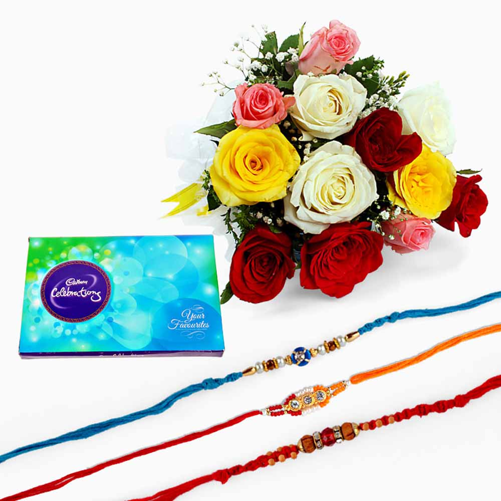 Rakhi with Mix Roses and Chocolate
