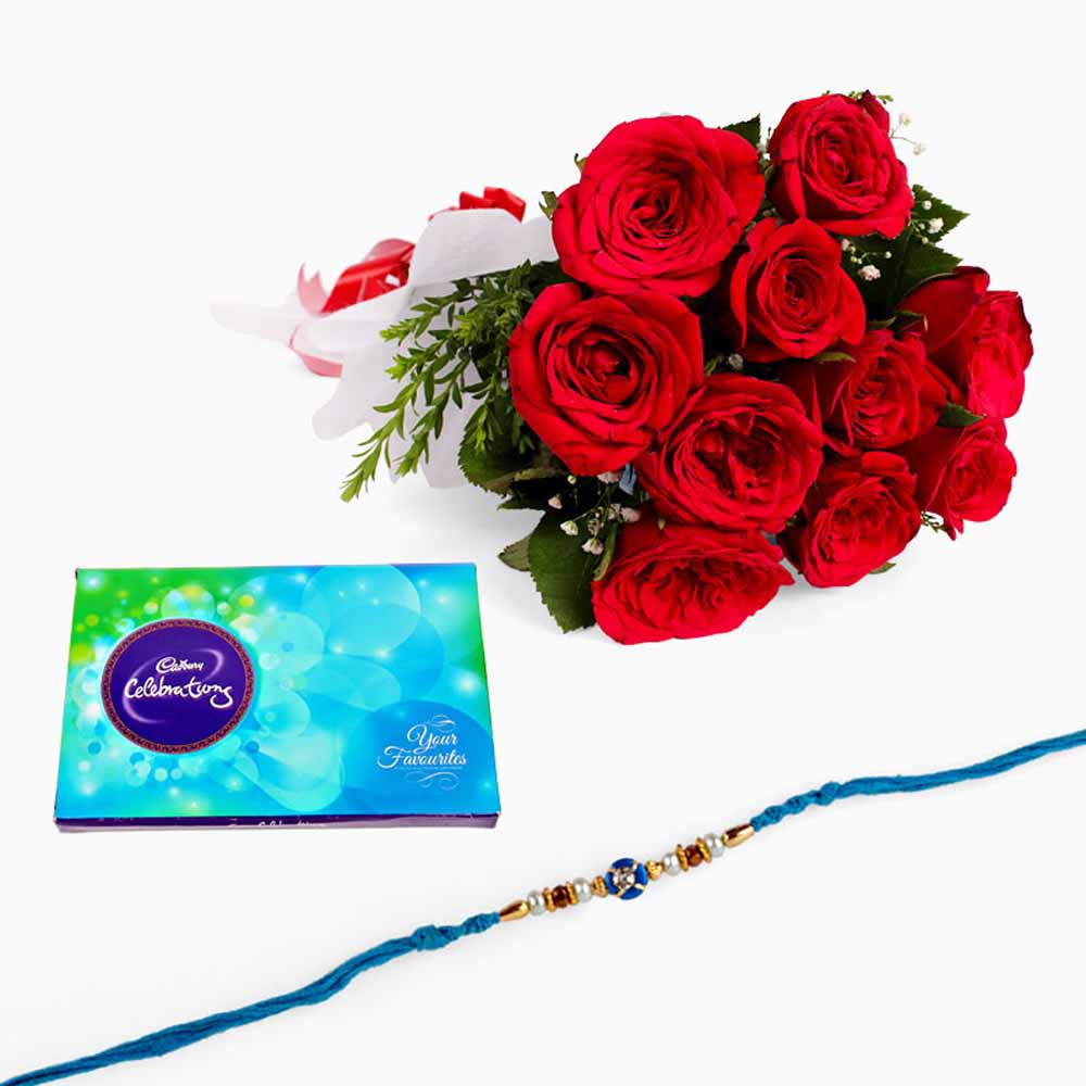 Rakhi with Red Roses and Cadbury Celebration Chocolate Pack