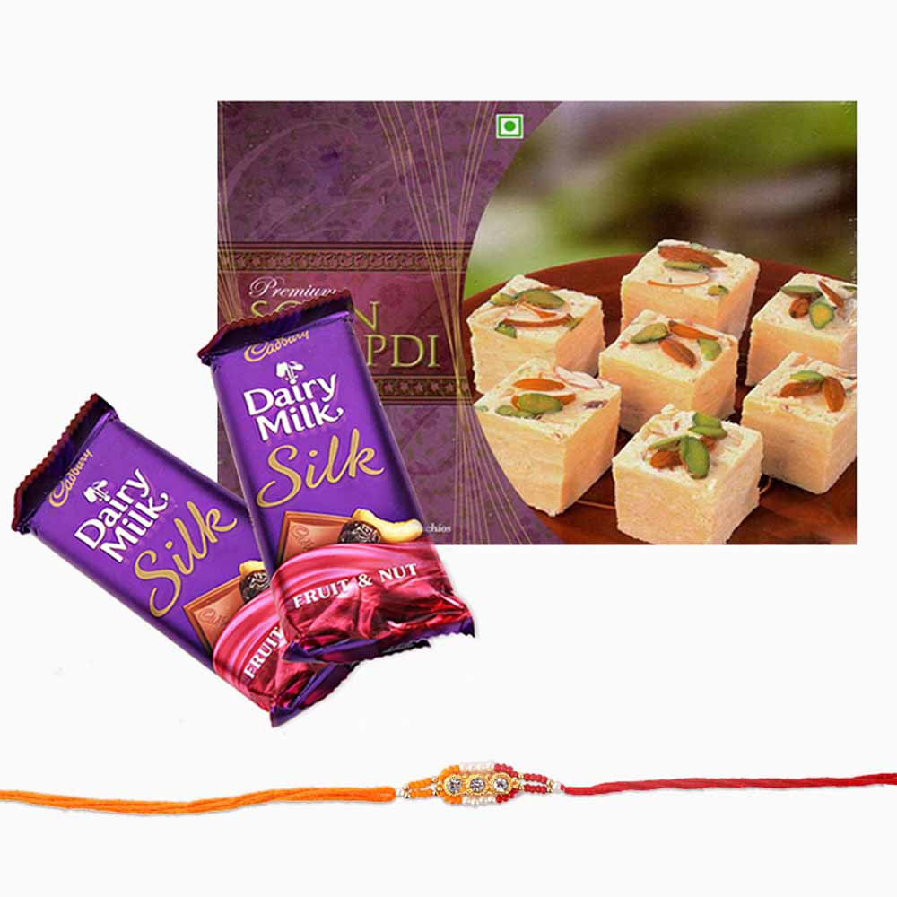 Rakhi Flower Hampers-Cadbury Silk Chocolate with Soan Papdi and Rakhi