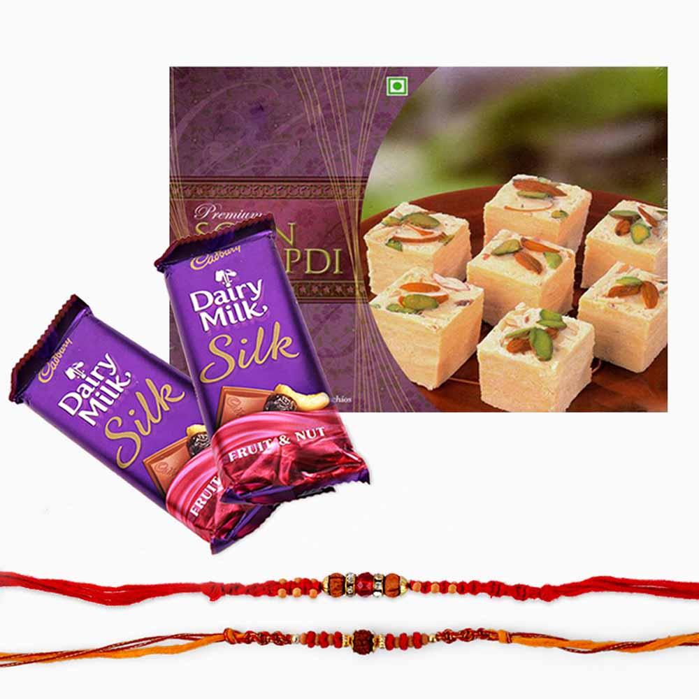 Double Rakhi with Sweets and Chocolate