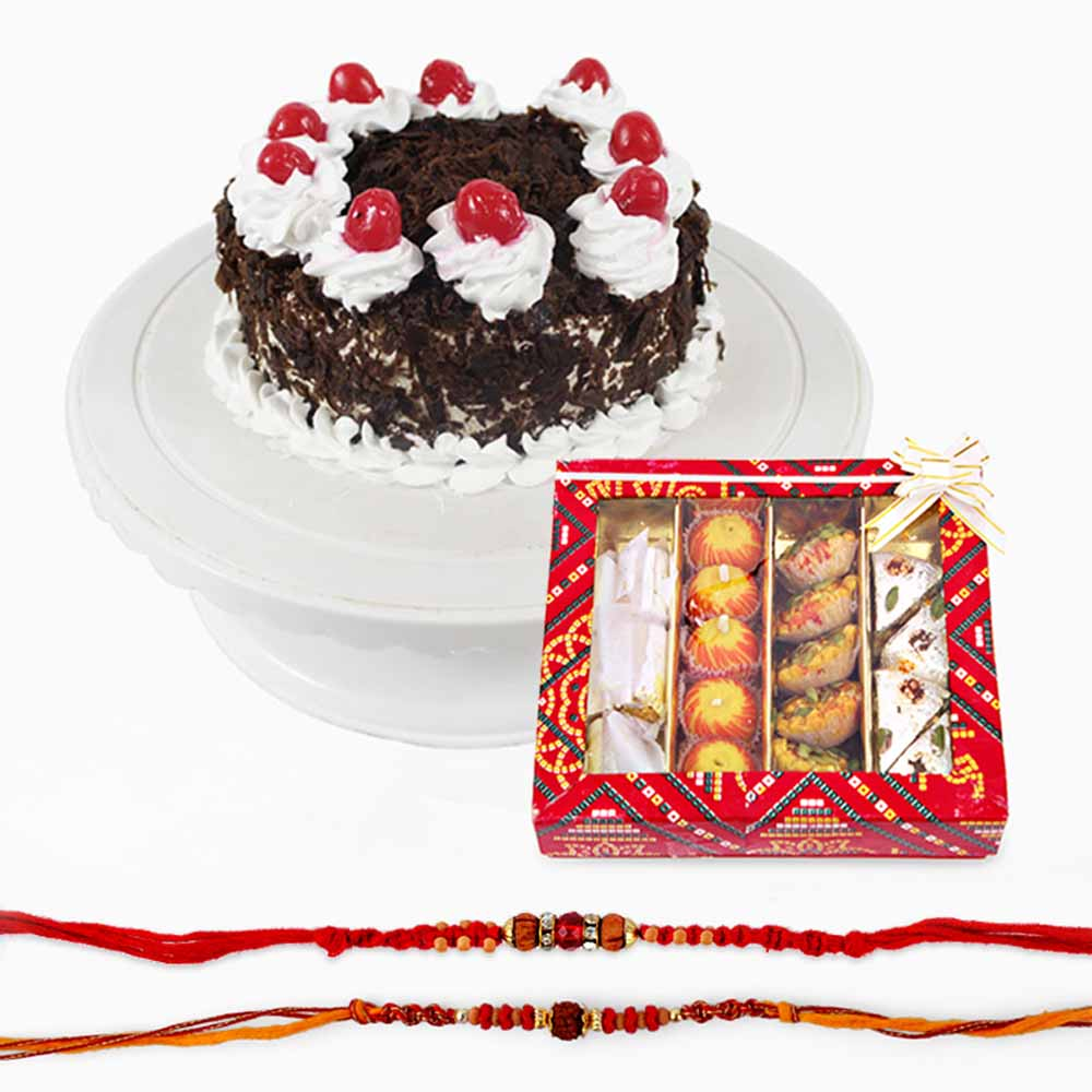 Assorted Sweets with Set of Two Rakhi and Black Forest Cake