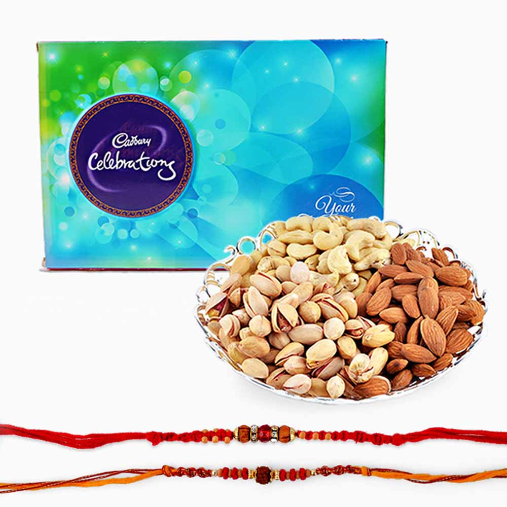 Rakhi Flower Hampers-Rakhi and Dry Fruits with Cadbury Celebration Chocolate