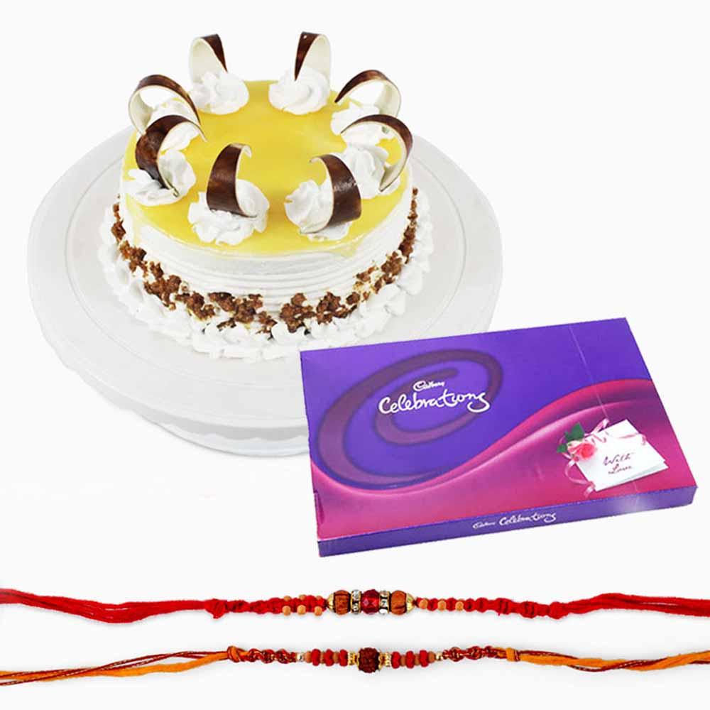 Rakhi Flower Hampers-Set of Two Rakhi with Butterscotch Cake and Celebration Pack