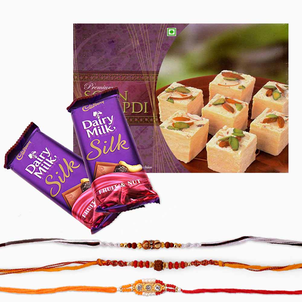 Cadbury Silk Chocolate with Rakhi and Soan Papdi