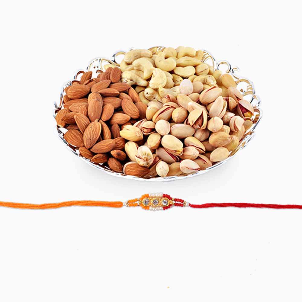 Rakhi Flower Hampers-Dry Fruits and Rakhi