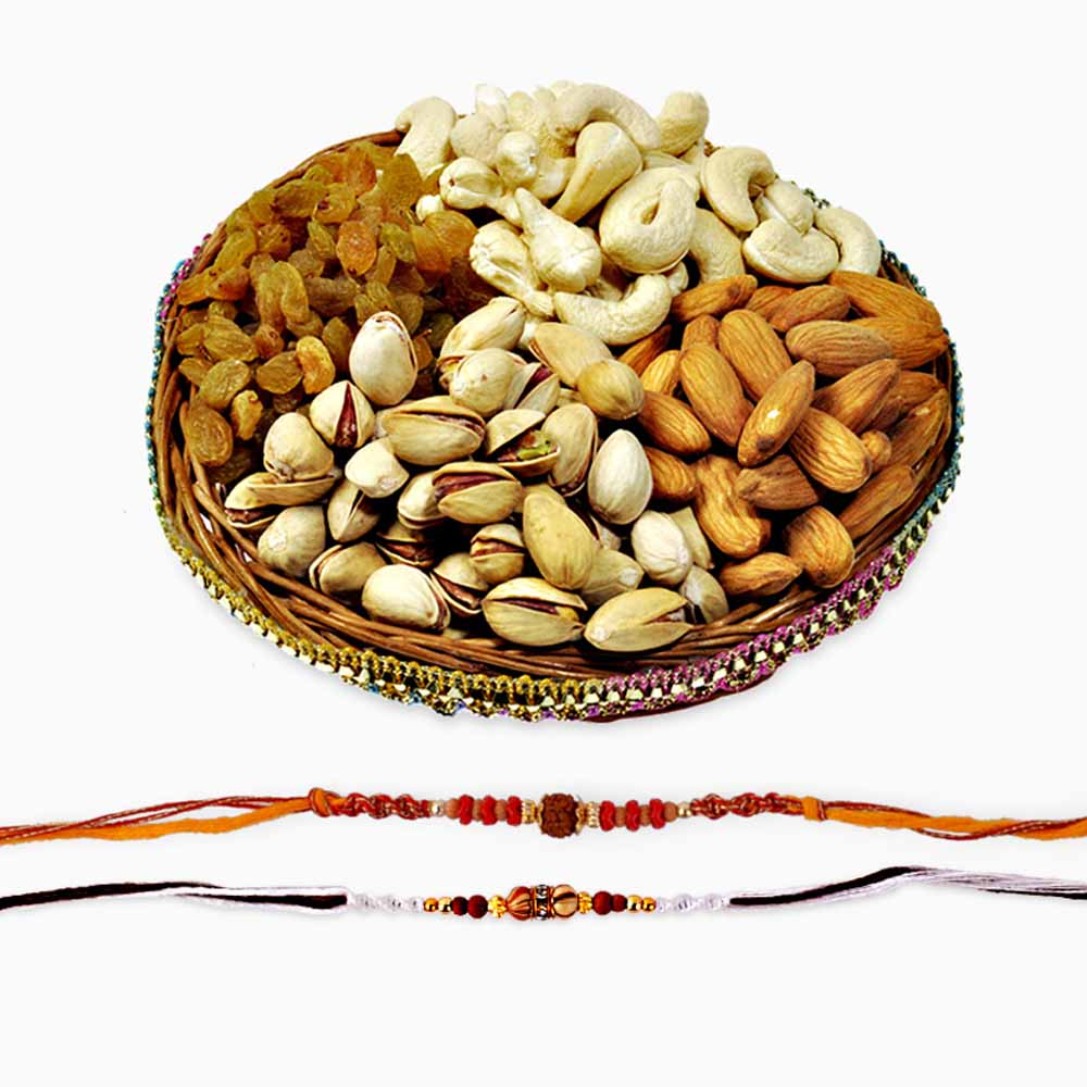 Rakhi Flower Hampers-Two Auspicious Rakhis with Dryfruits