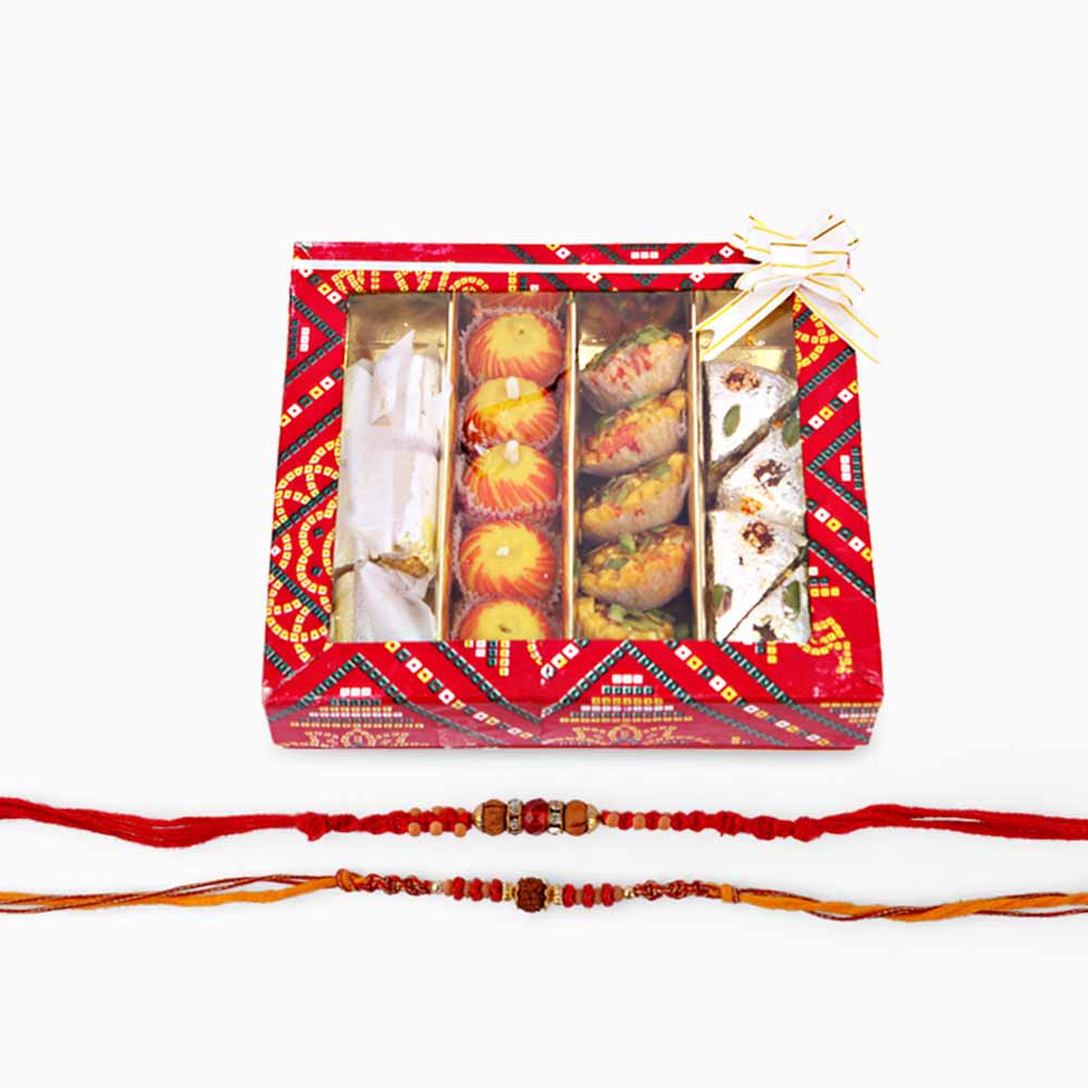 Two Rakhi with Assorted Sweets
