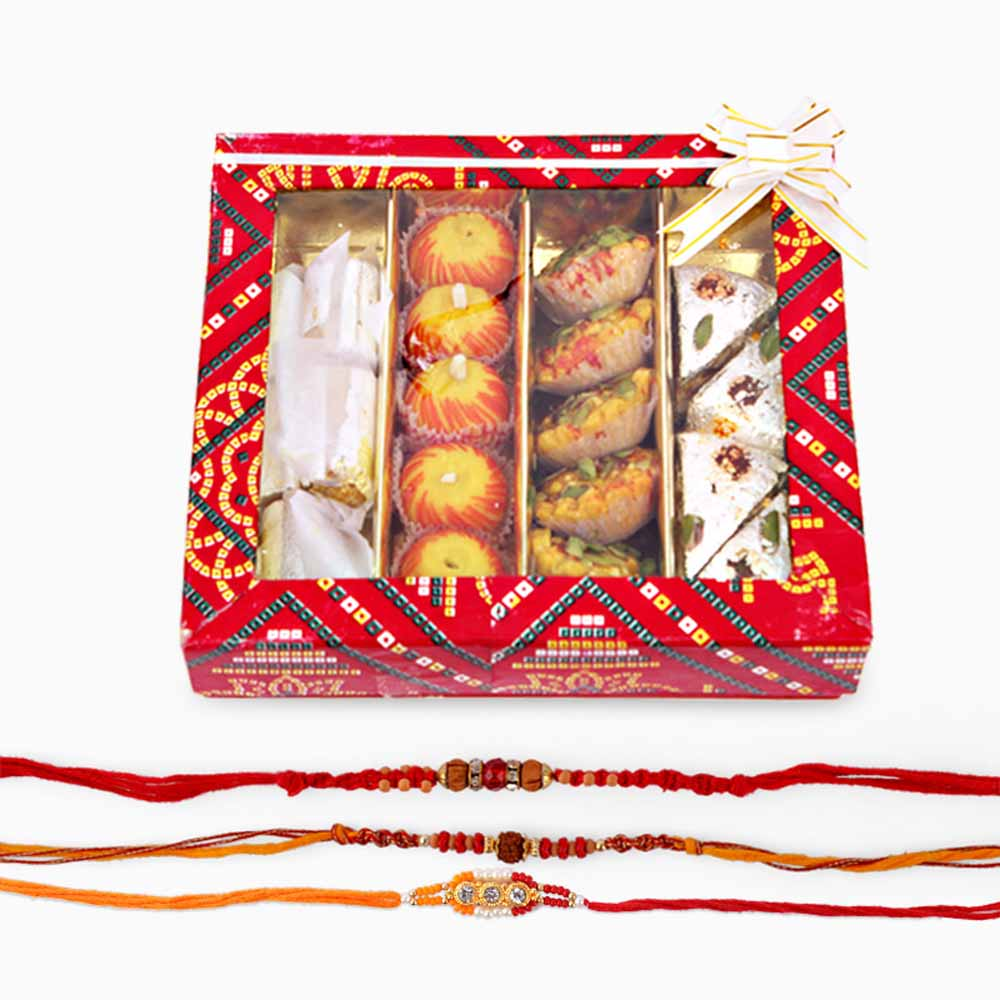 Rakhi Flower Hampers-Three Rakhi with Assorted Sweets