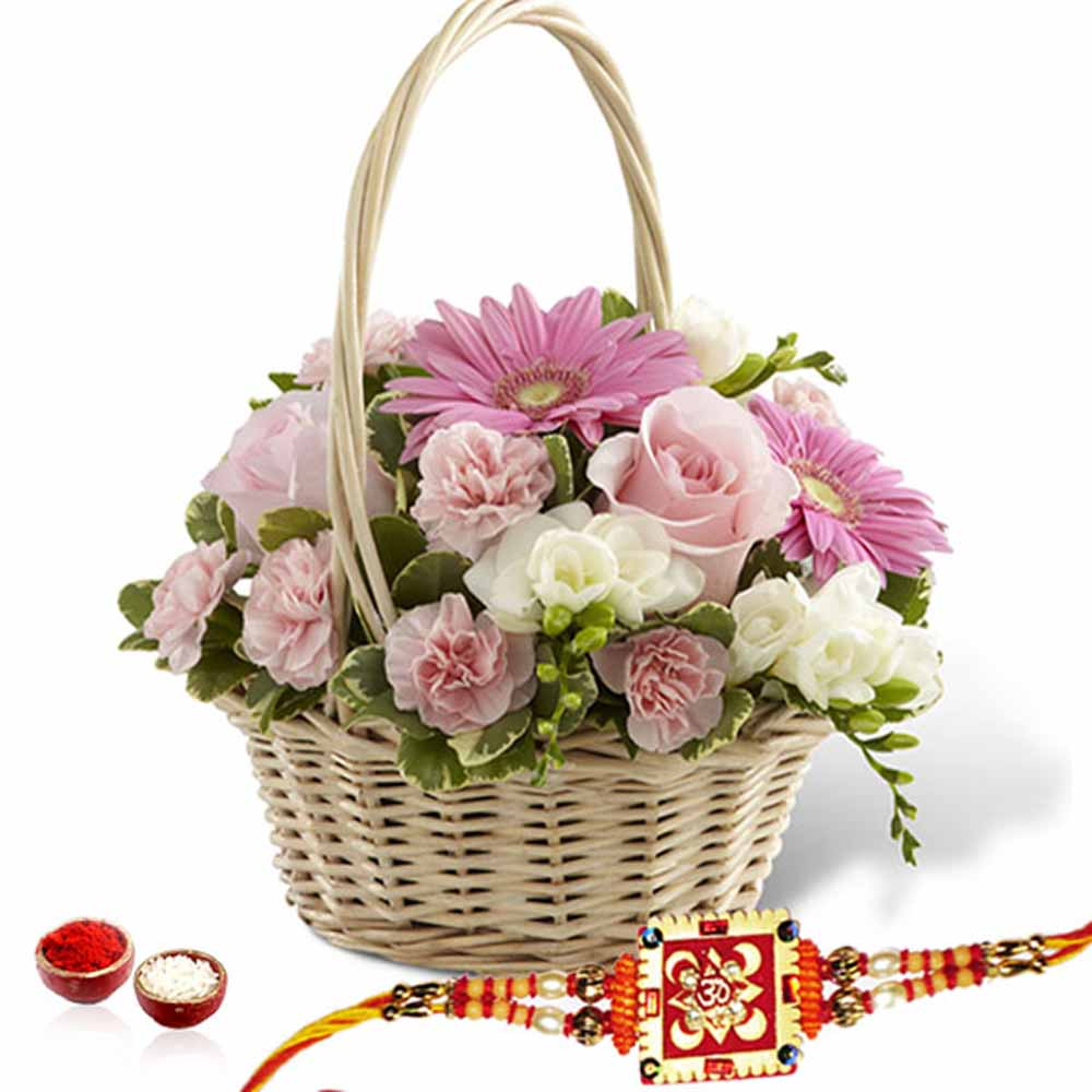 Rakhi Flower Hampers-Flowers Basket Arrangement with Rakhi