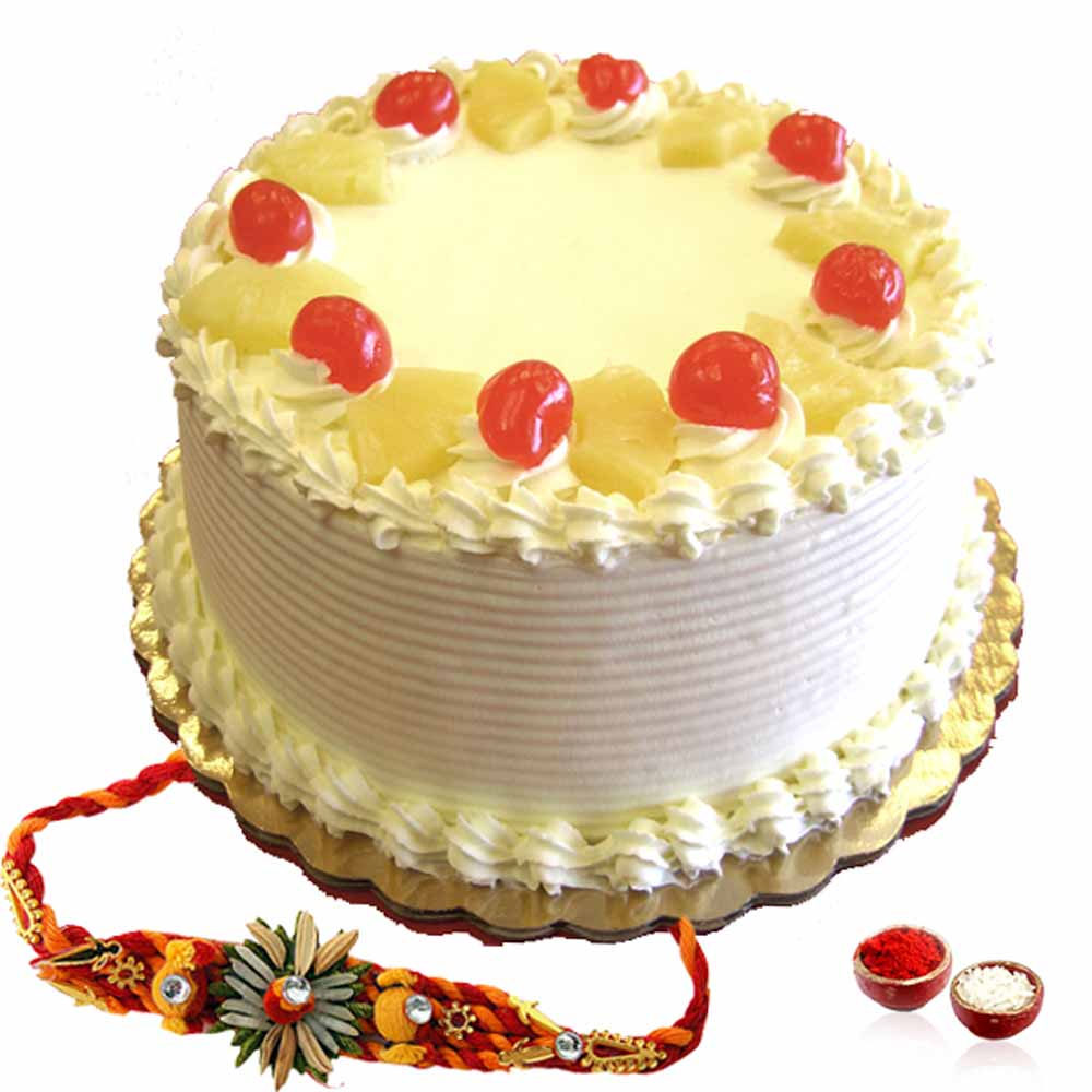 Rakhi Flower Hampers-Rakhi and Pineapple Cake Combo