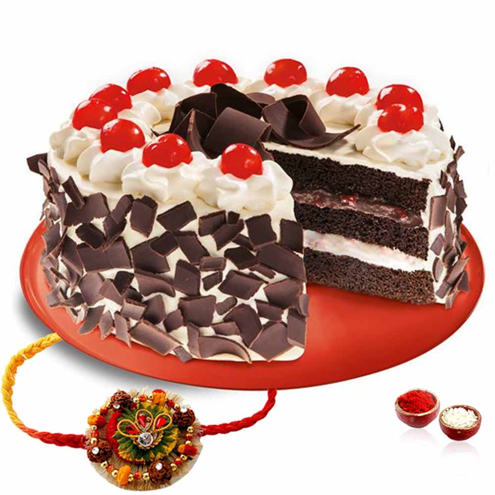 Thread Rakhi with Black Forest Cake