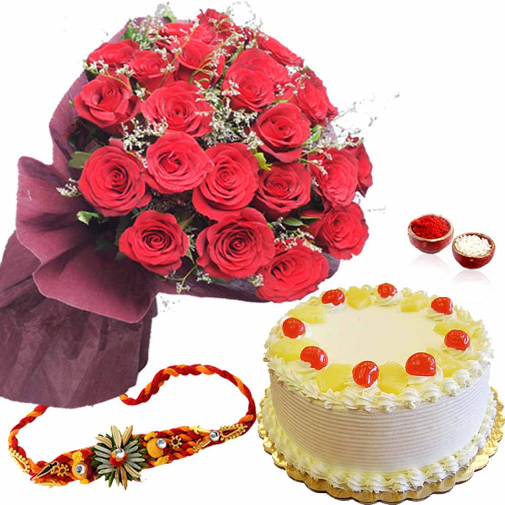 Rakhi Flower Hampers-Pineapple Cake with Red Roses and Rakhi