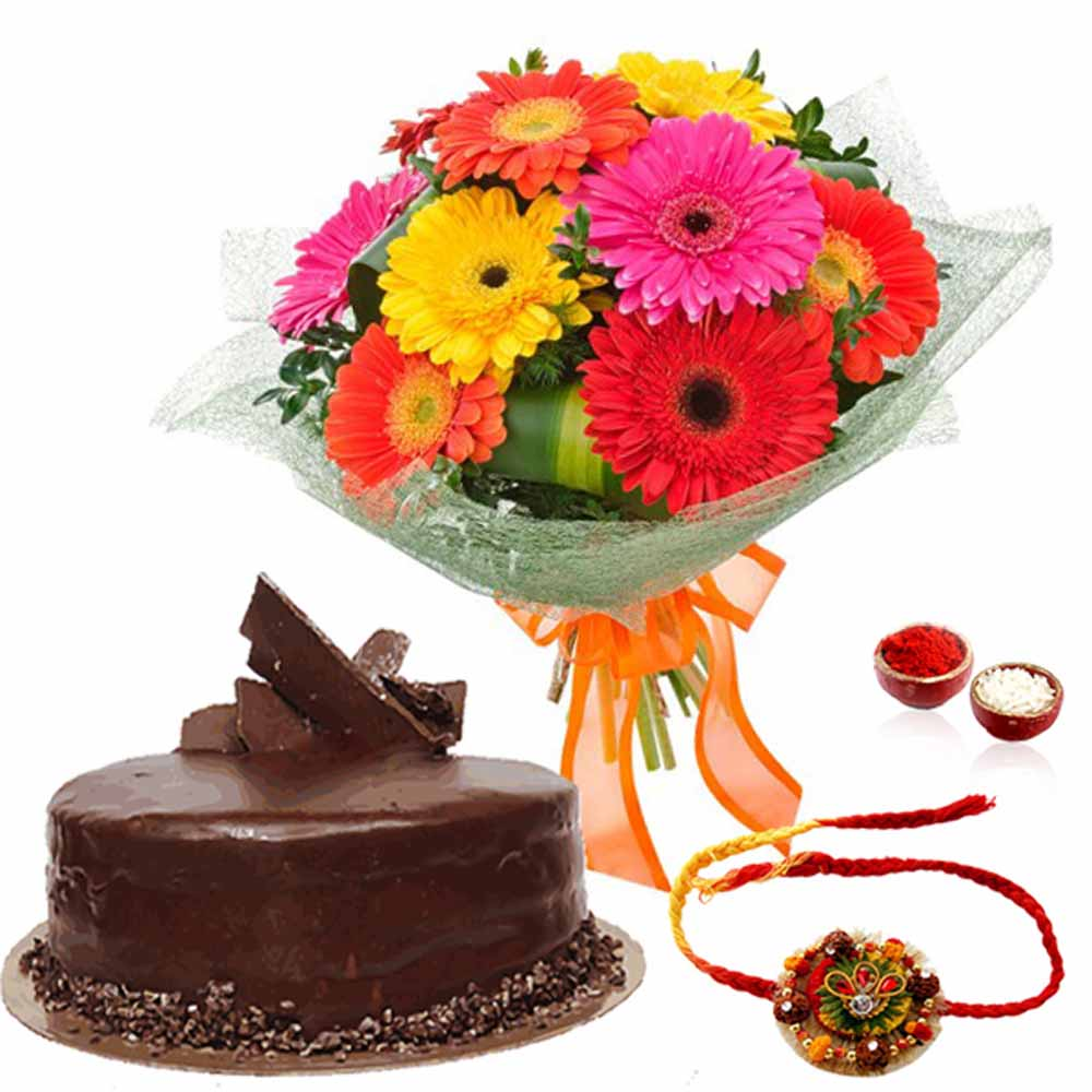 Delicious Chocolate Cake with Rakhi and Gerberas Bouquet