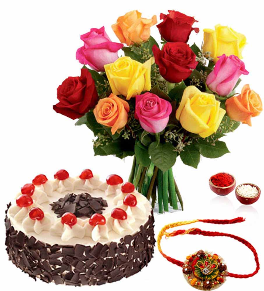 Rakhi with Black Forest Cake and Roses Bouquet
