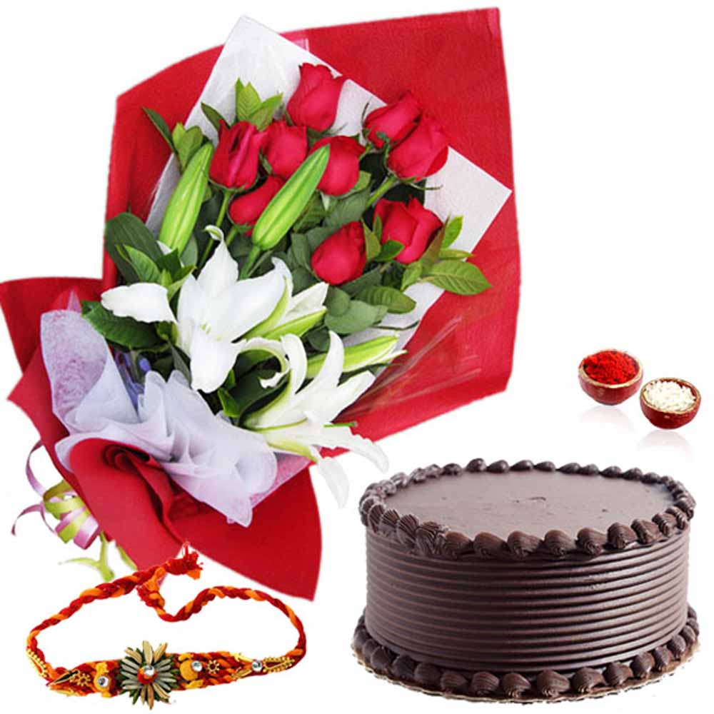 Exotic Flowers with Chocolate Cake and Rakhi