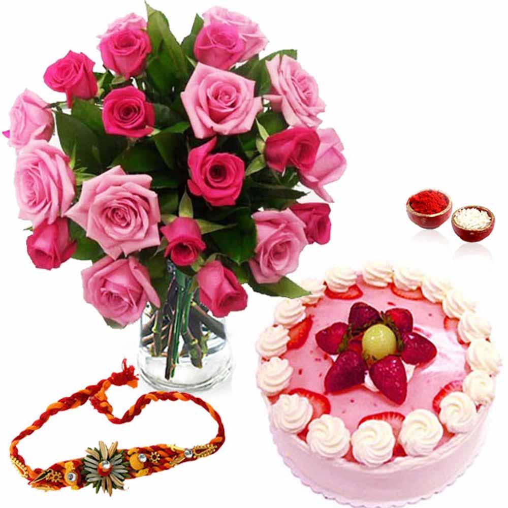 Strawberry Cake with Roses and Rakhi