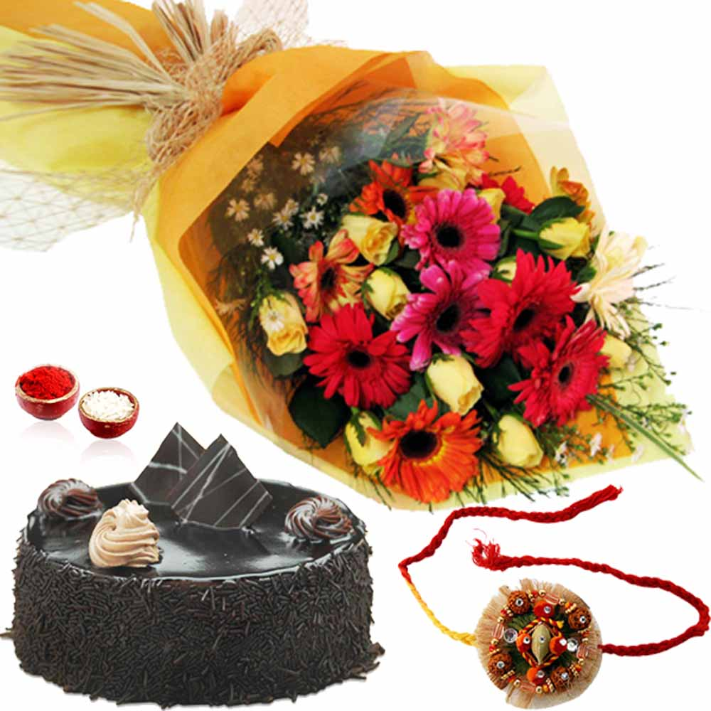 Roses and Gerberas Bouquet with Chocolate Cake and Rakhi