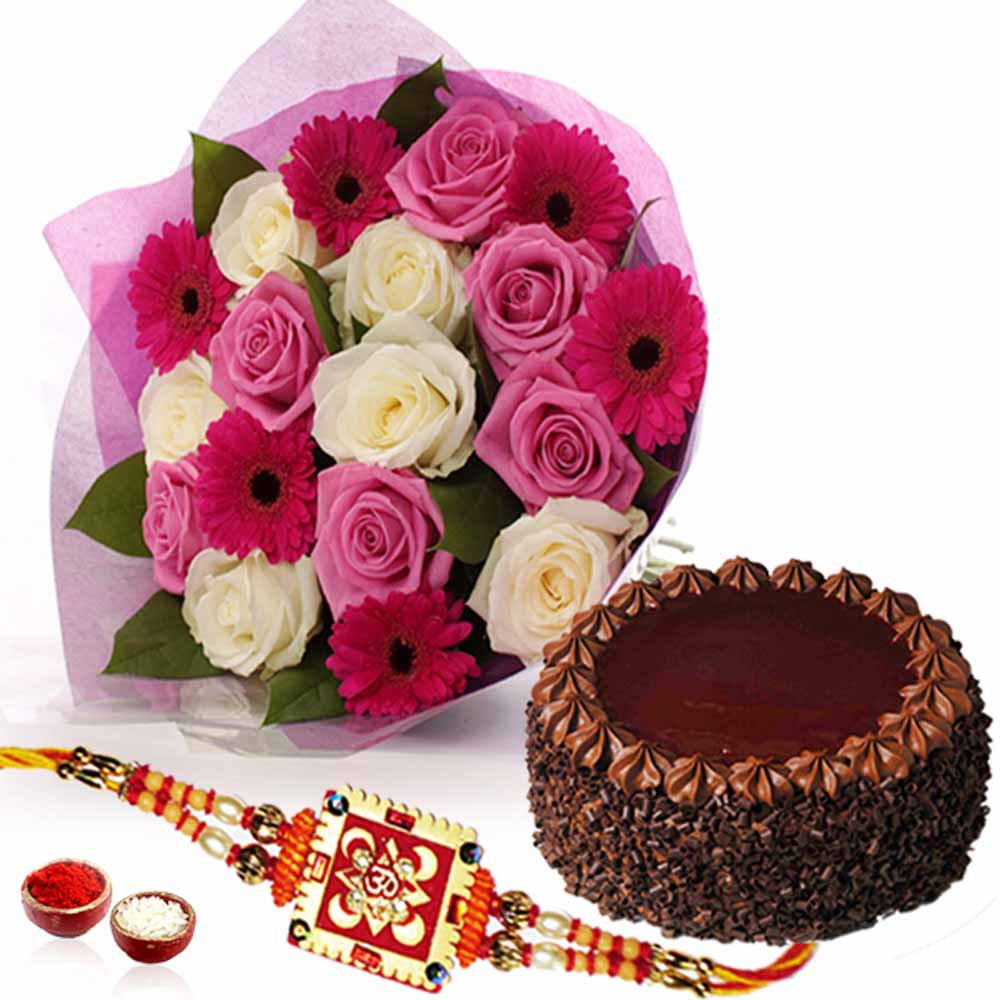 Flower Bouquet with Choc·chips Chocolate Cake and Rakhi