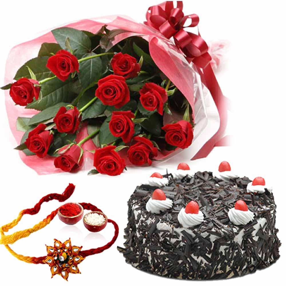 Rakhi Flower Hampers-Rakhi Gift of Cake and Roses
