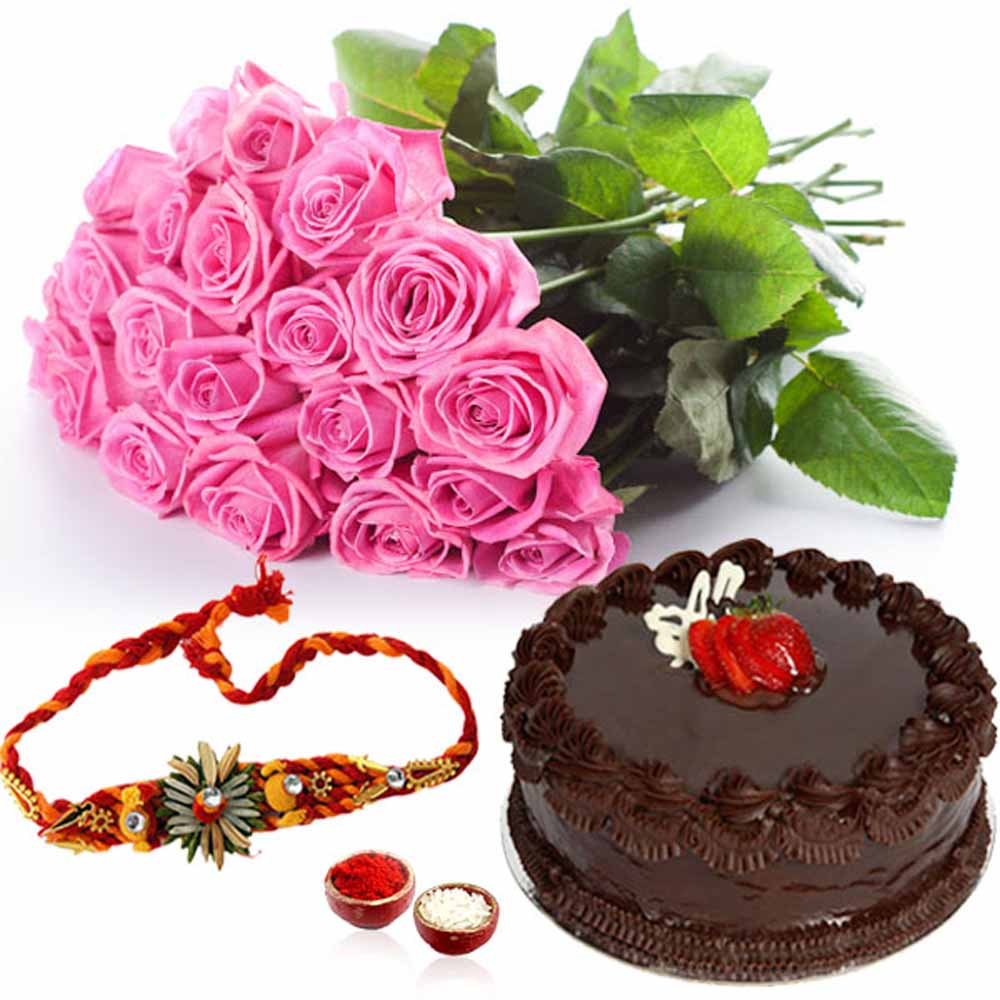Rakhi Flower Hampers-Pink Roses and Chocolate Cake with Rakhi