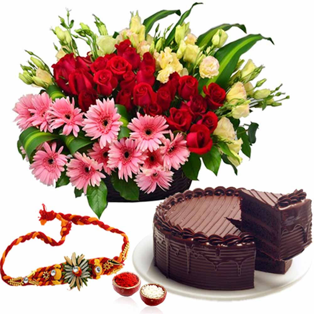 Rakhi Flower Hampers-Basket of Flowers and Cake with Rakhi