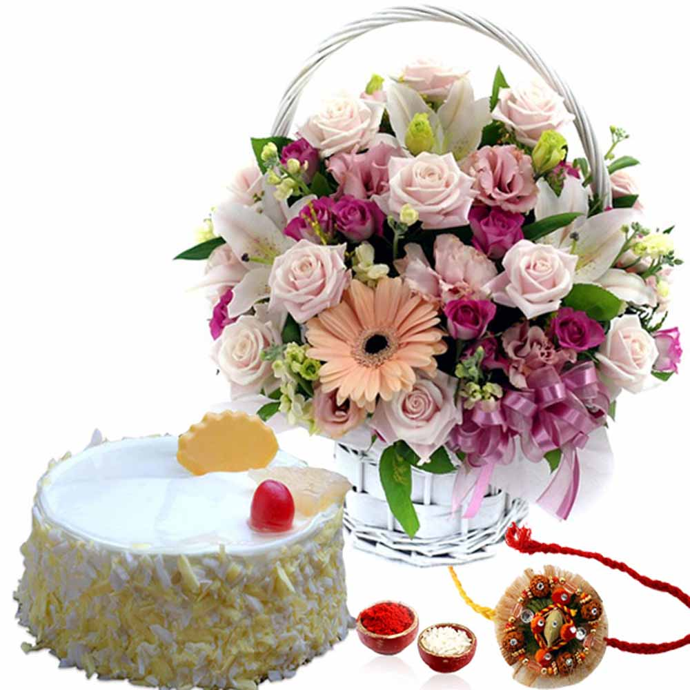 Rakhi Flower Hampers-Rakhi Treat of Pineapple Cake and Flowers