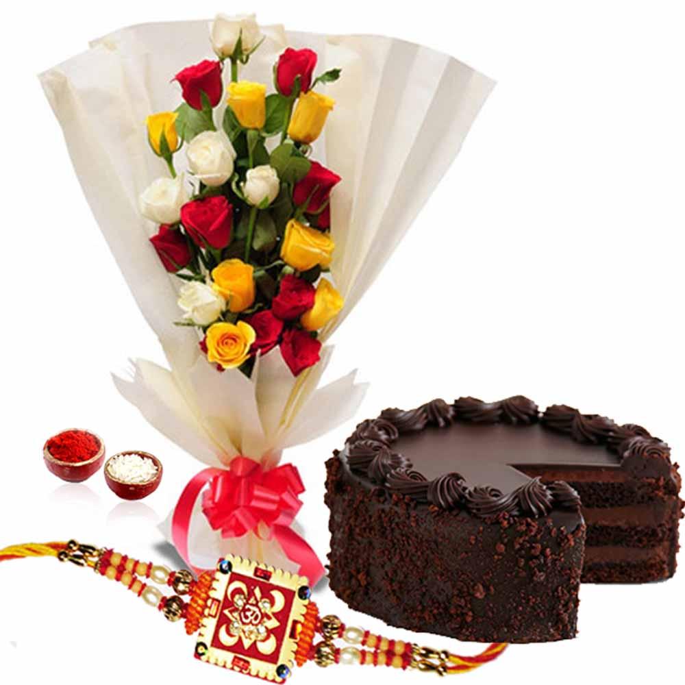 Rakhi Gift of Dark Chocolate Cake with Roses