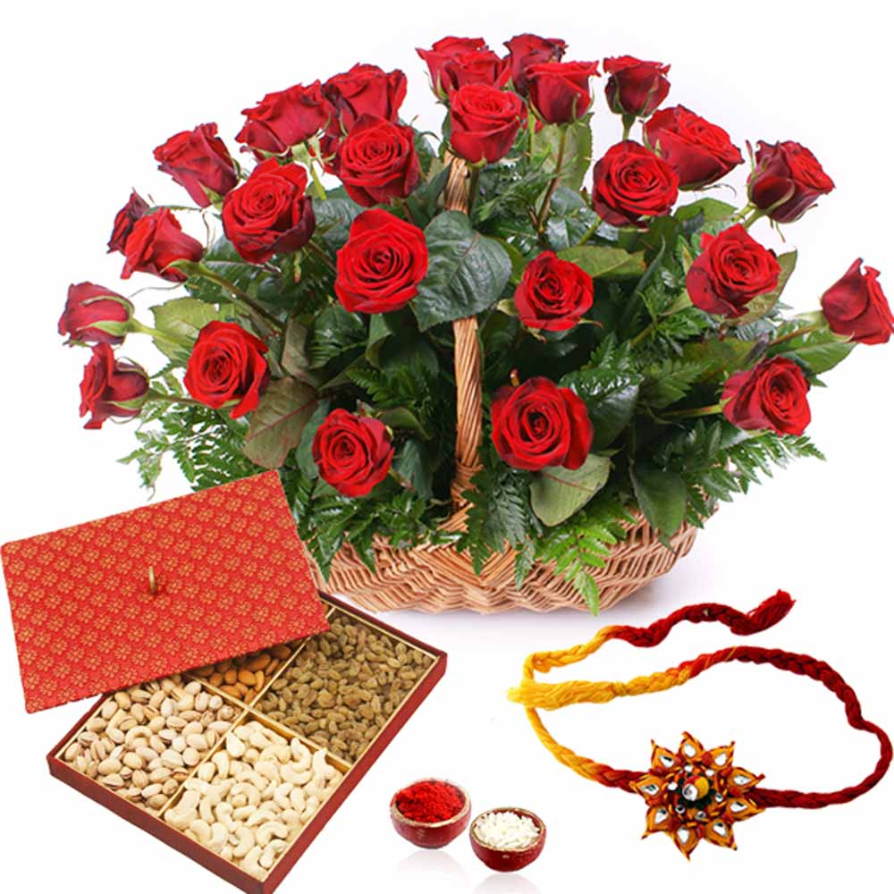 Basket of Red Roses with Dry Fruits and Rakhi