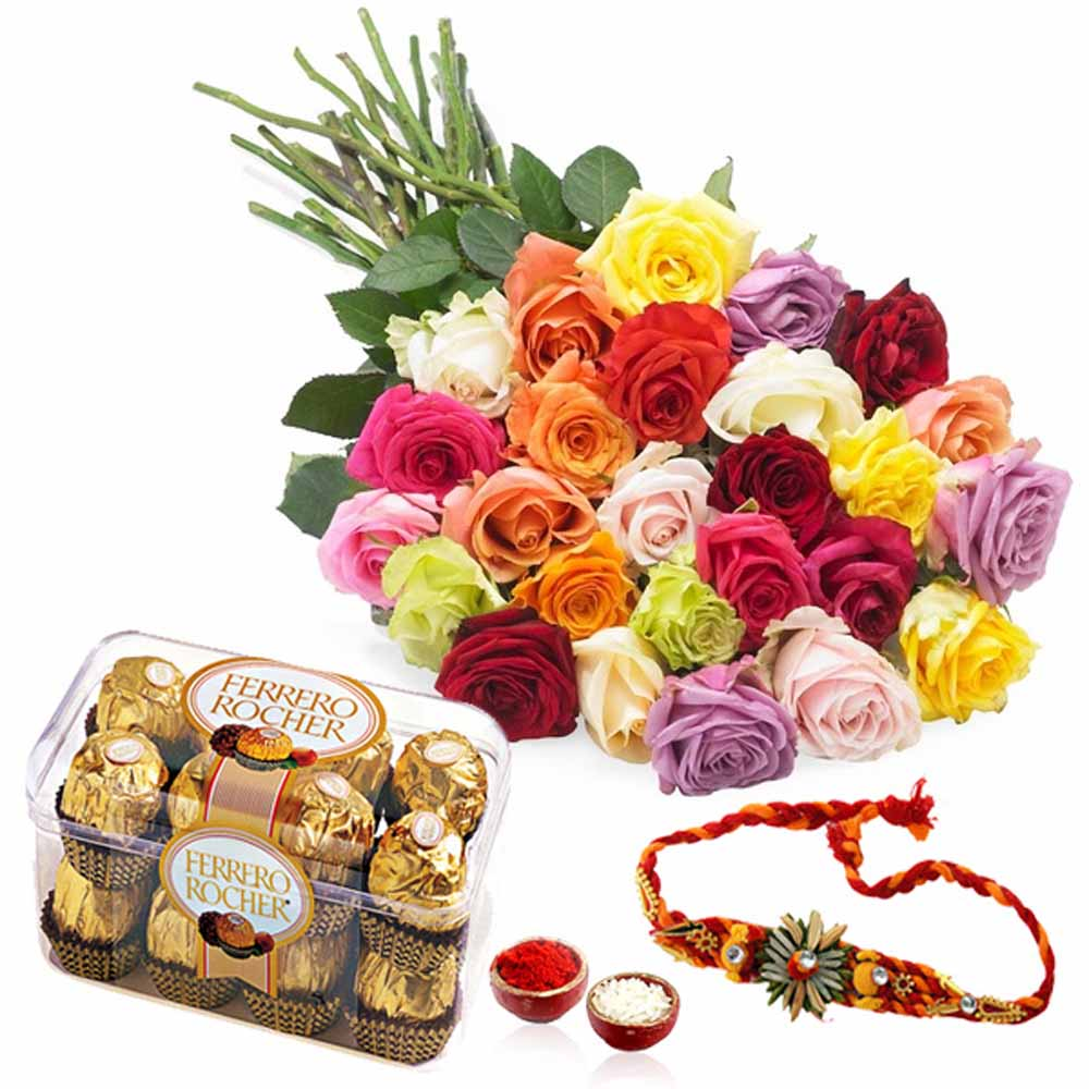 Rakhi and Ferrari Richer Chocolates with Roses