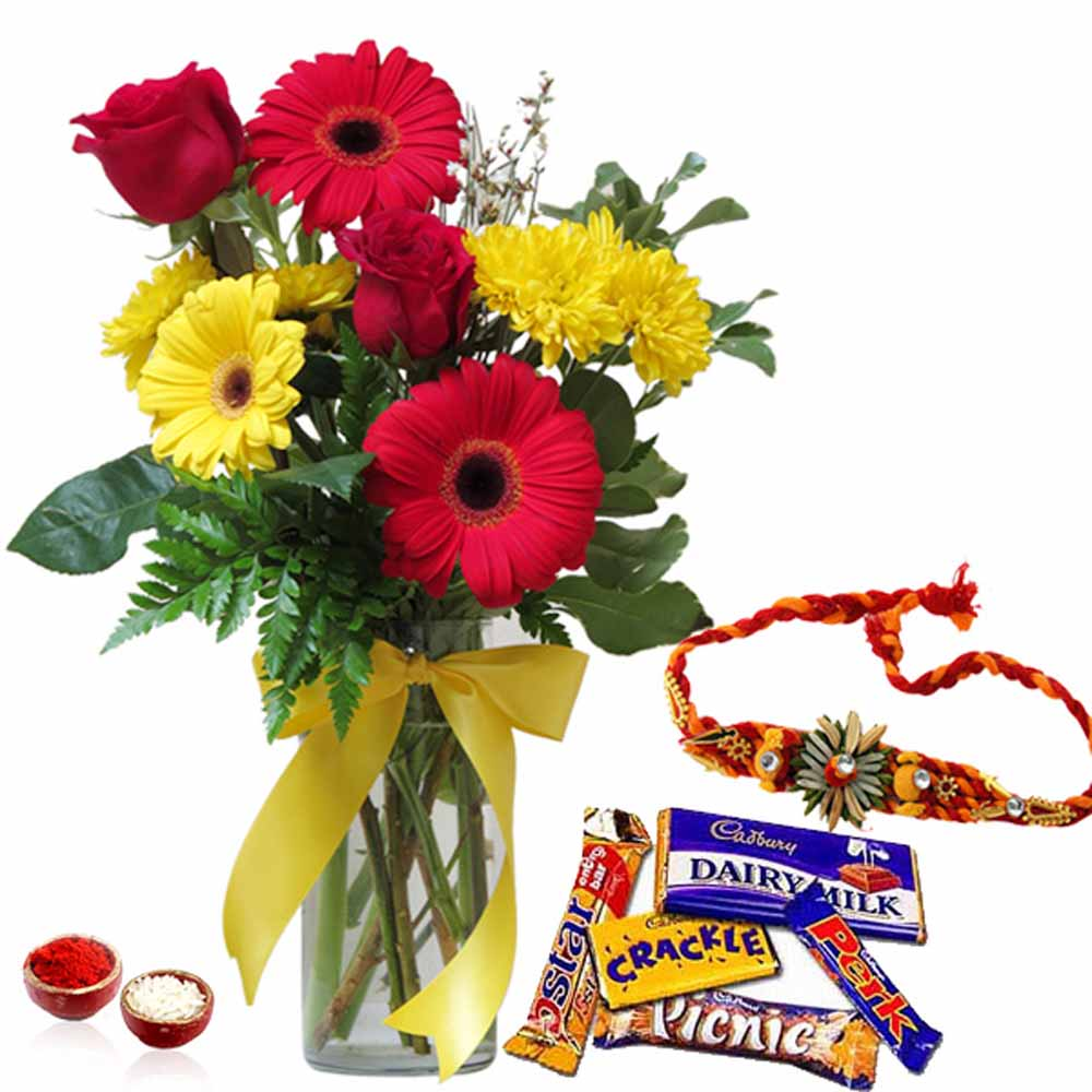 Rakhi Flower Hampers-Rakhi with Mix Flowers and Cadbury Chocolates