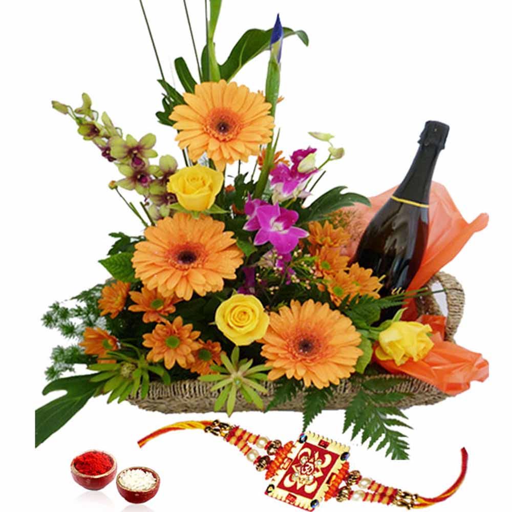 Rakhi with Basket of Mix Flowers and Wine