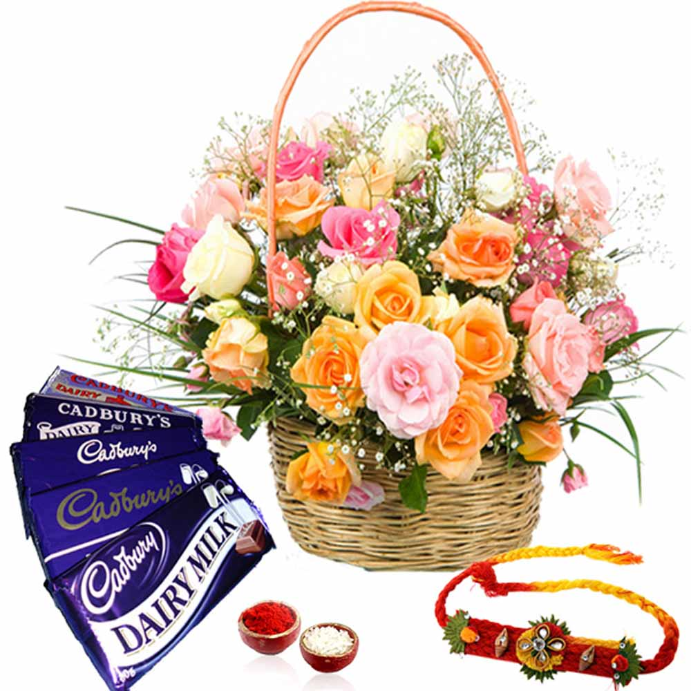 Basket of Roses and Rakhi with Cadbury Dairy Milk Chocolates