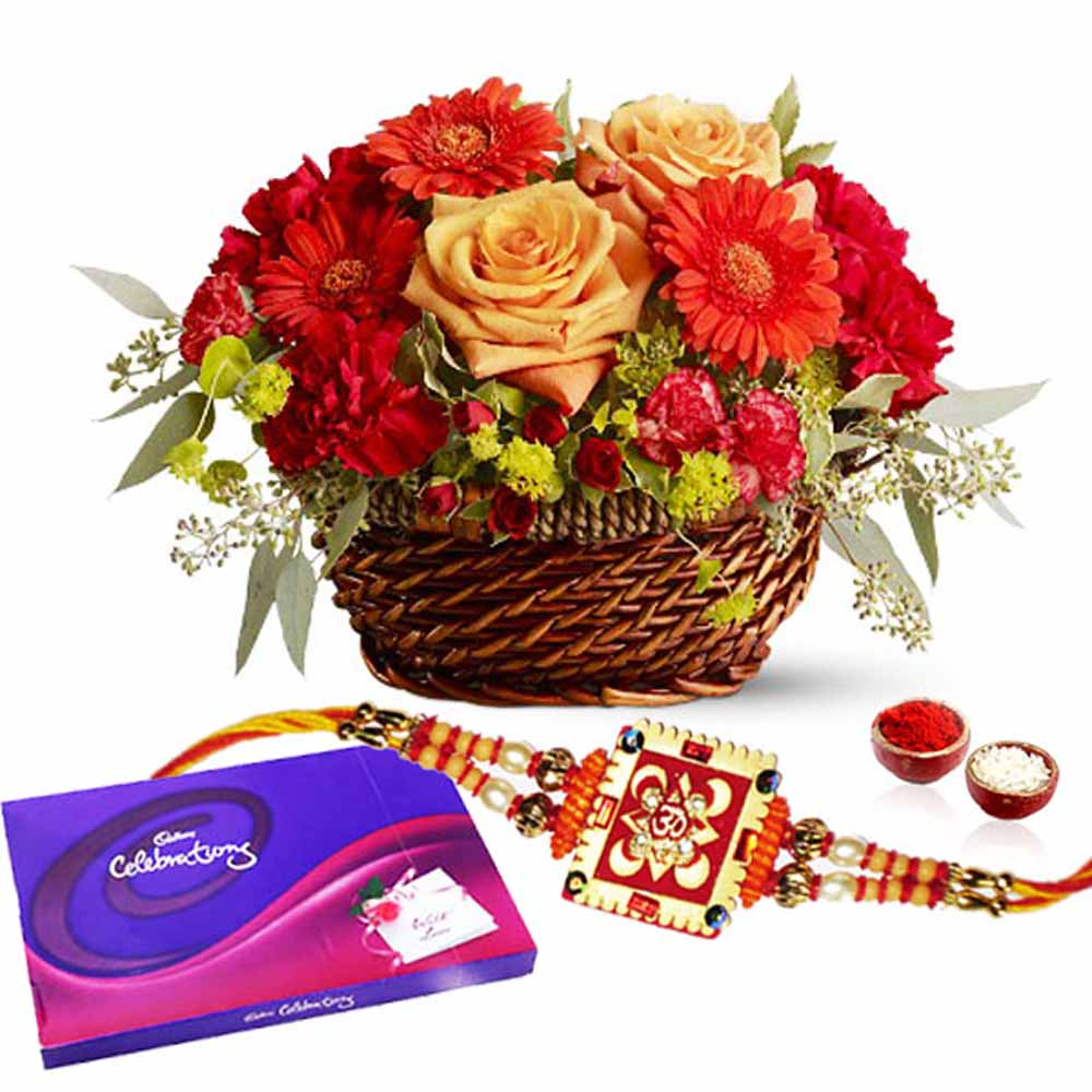 Flowers and Cadbury Celebration Chocolates Pack with Rakhi