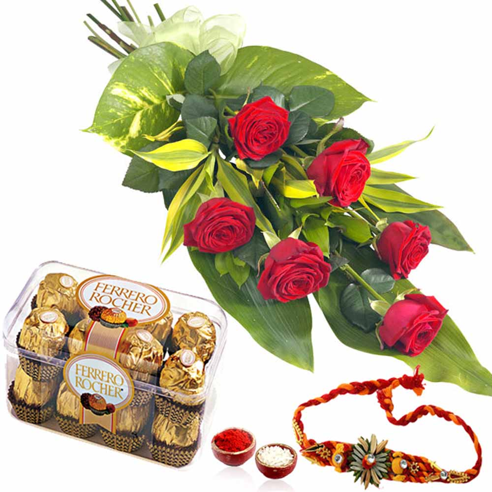 Rakhi and 6 Red Roses with Richer Chocolate Box
