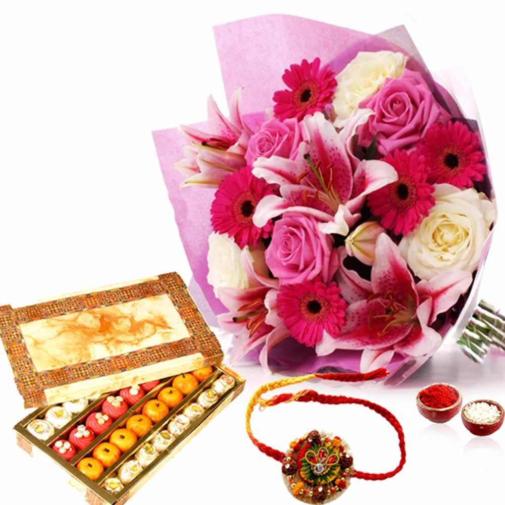 Exotic Flowers with Sweet and Rakhi