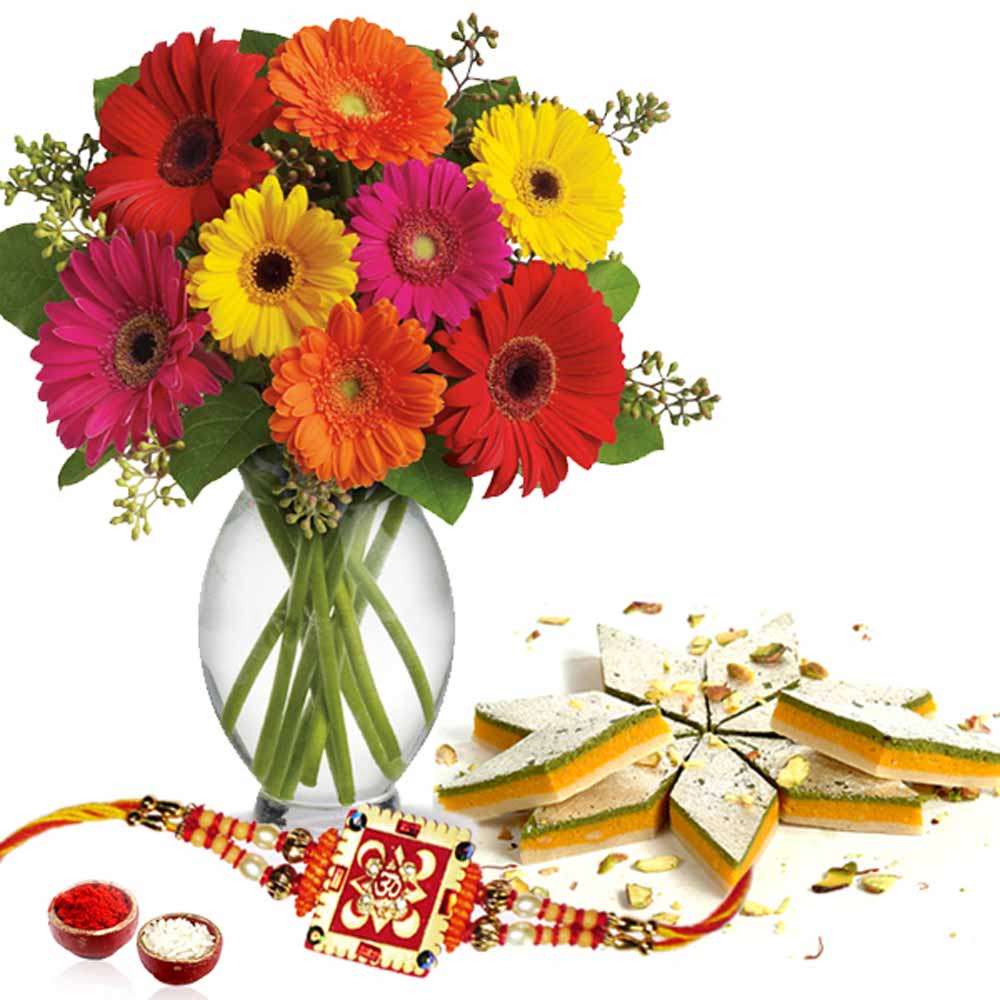 Rakhi Flower Hampers-Rakhi with Taranga Kaju Sweets and Flowers Vase