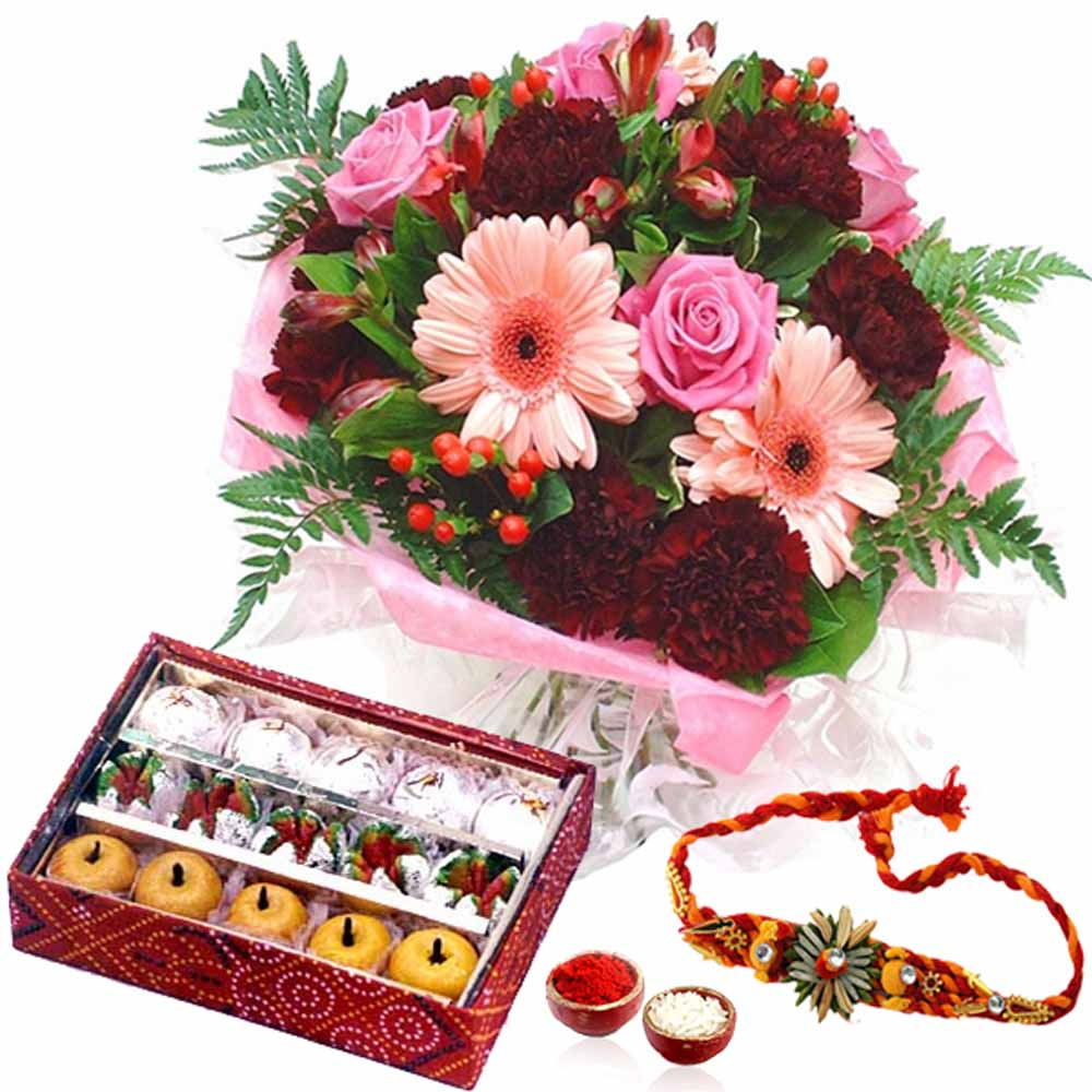 Rakhi Combo of Mix Flowers and Mix Sweets