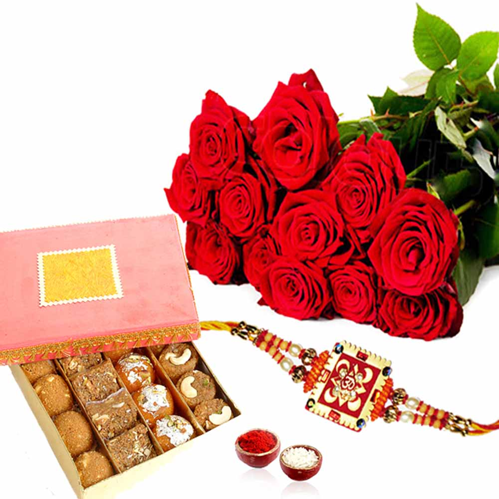 Rakhi Gift Pack of Red Roses with Assorted Sweet