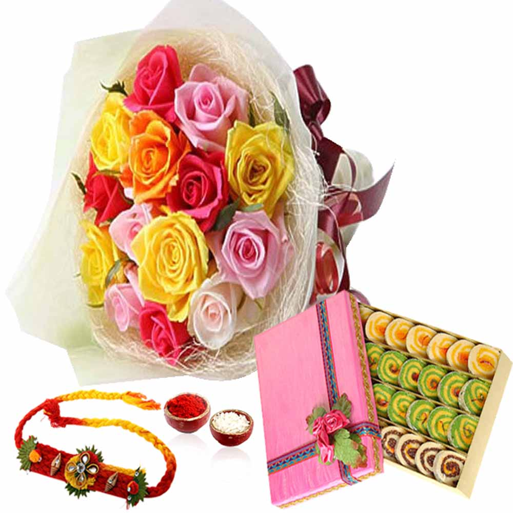 Rakhi Flower Hampers-Rainbow Color Roses and Sweet with Rakhi
