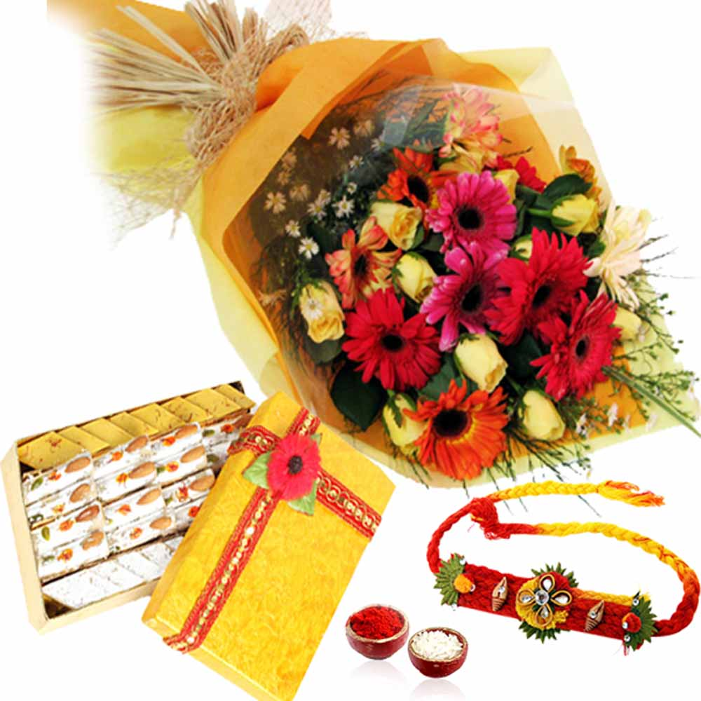 Rakhi and Bouquet of Flowers with Kaju Mix Sweets