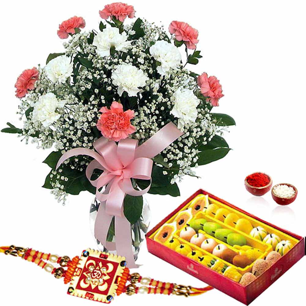 1 Kg Mix Sweets and Rakhi with Flower Vase